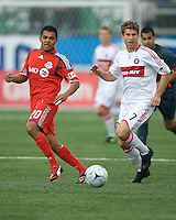 16 May 09: Chicago Fire midfielder Logan Pause #7 and Toronto FC midfielder Amado Guevara #20 in action at BMO Field in a game between the Chicago Fire and Toronto FC..Chicago Fire won 2-0..