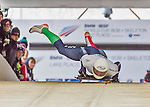 9 January 2016: Mattia Gaspari, competing for Italy, pushes off for his first run start of the BMW IBSF World Cup Skeleton race at the Olympic Sports Track in Lake Placid, New York, USA. Gaspari ended the day with a combined 2-run time of 1:50.42 and an 8th place overall finish. Mandatory Credit: Ed Wolfstein Photo *** RAW (NEF) Image File Available ***