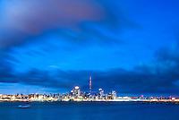 Auckland skyline at night seen from Devenport, Auckland, New Zealand North Island