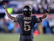 PHILADELPHIA, PA - DEC 8, 2018: Army Black Knights running back Kell Walker (5) fires up the crowd in the 4th quarter during game between Army and Navy at Lincoln Financial Field in Philadelphia, PA. Army defeated Navy 17-10 to win the Commander in Chief Cup. (Photo by Phil Peters/Media Images International)