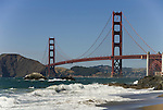 San Francisco: Baker Beach with Golden Gate Bridge in background.  Photo # 2-casanf83356.  Photo copyright Lee Foster