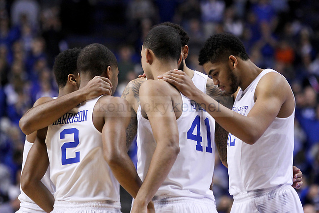 Kentucky starters huddle up before the start of the first half of the University of Kentucky vs. Arkansas at Rupp Arena in Lexington , Ky., on Saturday, February 28, 2015. Photo by Jonathan Krueger | Staff