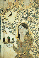 """Asie/Inde/Rajasthan/Udaipur: Le """"City Palace"""" palais du roi sur le lac Pichola (D'une longueur de près de 500M, ce vaste ensemble de marbre et de granit fut érigé à partir du règne d'Udai Singh (1537-1572) fondateur de la ville) - Détail salle décorée de mosaïques"""
