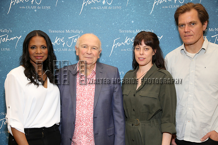 "Audra McDonald, Terrence McNally, Arin Arubs and Michael Shannon during the ""Frankie And Johnny In The Clair De Lune"" Company Meet The Press  at the the New 42nd Street Studios on April 18, 2019 in New York City."
