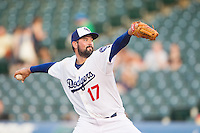 Oklahoma City Dodgers pitcher Zach Lee (17) winds up during a game against the Omaha Storm Chasers at Chickasaw Bricktown Ballpark on June 16, 2016 in Oklahoma City, Oklahoma. Oklahoma City defeated Omaha 5-4  (William Purnell/Four Seam Images)