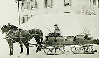 Walter Frederick Litzinger (1880) drives his winterized covered wagon that he used to shuttle train passengers to and from the Cresson and Loretto train stations and to deliver mail to Loretto four times a day.  - maybe 1910?<br /> <br /> Photo by Deck Lane
