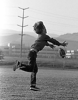 Devin Rifkin playing catch with his dad, Dave, in San Ramon City Center Park, 1987.  &amp;#xA;<br />