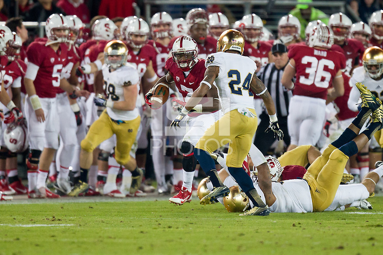 Stanford, CA -- November 30, 2013:  Stanford's Ty Montgomery during a game against Notre Dame at Stanford Stadium. Stanford defeated Notre Dame 27-20.