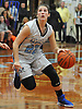 Lauren Hammersley #22 of Our Lady of Mercy Academy looks for an open shot during a CHSAA varsity girls basketball game against Kellenberg at Our Lady of Mercy Academy on Friday, Jan. 13, 2017.