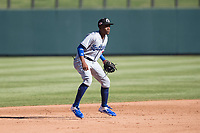 Glendale Desert Dogs shortstop Errol Robinson (3), of the Los Angeles Dodgers organization, during an Arizona Fall League game against the Salt River Rafters at Salt River Fields at Talking Stick on October 31, 2018 in Scottsdale, Arizona. Glendale defeated Salt River 12-6 in extra innings. (Zachary Lucy/Four Seam Images)