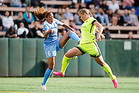 Seattle, WA - Sunday, May 22, 2016: Chicago Red Stars defender Casey Short (6) and Seattle Reign FC forward Merritt Mathias (9) during a regular season National Women's Soccer League (NWSL) match at Memorial Stadium. Chicago Red Stars won 2-1.