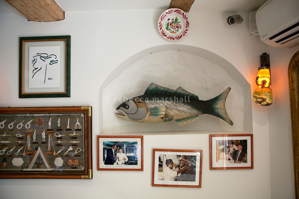 Wall decorations at Le Bistro de la Marine, Cagnes sur Mer, France, 07 April 2012