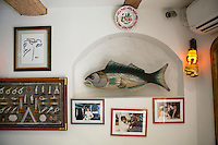 Wall decorations at Le Bistro de la Marine, Cagnes sur Mer, France, 07 April 2012