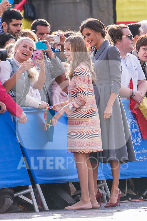 Queen Letizia of Spain and Princess of Asturias Leonor during the arrival to Oviedo because of the Princess of Asturias Awards 2019 . October 17, 2019.. (ALTERPHOTOS/ Francis Gonzalez)