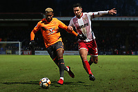 Joe Martin of Stevenage and Leandro Bacuna of Reading during Stevenage vs Reading, Emirates FA Cup Football at the Lamex Stadium on 6th January 2018