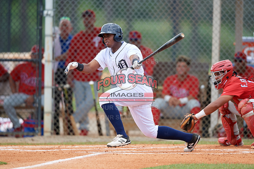 Detroit Tigers Jimmy Mojica (39) at bat during an Instructional League game against the Philadelphia Phillies on September 19, 2019 at Tigertown in Lakeland, Florida.  (Mike Janes/Four Seam Images)
