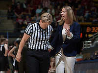 California head coach Lindsay Gottlieb argues with the referee about a bad call during the game against Stanford at Haas Pavilion in Berkeley, California on February 2nd 2014.   Stanford defeated California, 79-64.