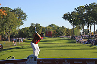 Jordan Spieth (Team USA) on the 13th tee during Saturday afternoon Fourball at the Ryder Cup, Hazeltine National Golf Club, Chaska, Minnesota, USA.  01/10/2016<br /> Picture: Golffile | Fran Caffrey<br /> <br /> <br /> All photo usage must carry mandatory copyright credit (&copy; Golffile | Fran Caffrey)