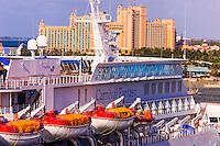 Carnival Fantasy cruise ship with the Atlantis Paradise Island resort in background, Nassau, The Bahamas