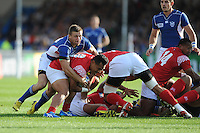 Johan Tromp of Namibia stops Sonatane Takulua of Tonga getting his pass away during Match 20 of the Rugby World Cup 2015 between Tonga and Namibia - 29/09/2015 - Sandy Park, Exeter<br /> Mandatory Credit: Rob Munro/Stewart Communications