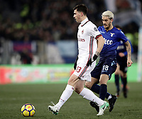 Football Soccer: Tim Cup semi-final second Leg, SS Lazio vs AC Milan, Stadio Olimpico, Rome, Italy, February 28, 2018.<br /> Milan's Alessio Romagnoli (l) in action with Lazio's Luis Alberto Romero (r) during the Tim Cup semi-final football match between SS Lazio vs AC Milan, at Rome's Olympic stadium, February 28, 2018.<br /> <br /> UPDATE IMAGES PRESS/Isabella Bonotto