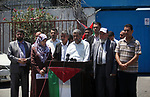 """Palestinians attend a press conference about the demolition of Palestinian buildings by Israeli security forces in the Palestinian village of Sur Baher in East Jerusalem, in front of the headquarter United Nation """"UNSCO"""", in Gaza city on July 24, 2019. Photo by Mahmoud Ajjour"""