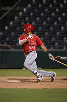 AZL Angels center fielder Jordyn Adams (21) follows through on his swing during an Arizona League game against the AZL Padres 2 at Tempe Diablo Stadium on July 18, 2018 in Tempe, Arizona. The AZL Padres 2 defeated the AZL Angels 8-1. (Zachary Lucy/Four Seam Images)