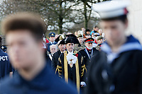 Pictured: Councillor David Phillips joins local dignitaries during the service. Sunday 11 November 2018<br /> Re: Commemoration for the 100 years since the end of the First World War on Remembrance Day at the Swansea Cenotaph in south Wales, UK.