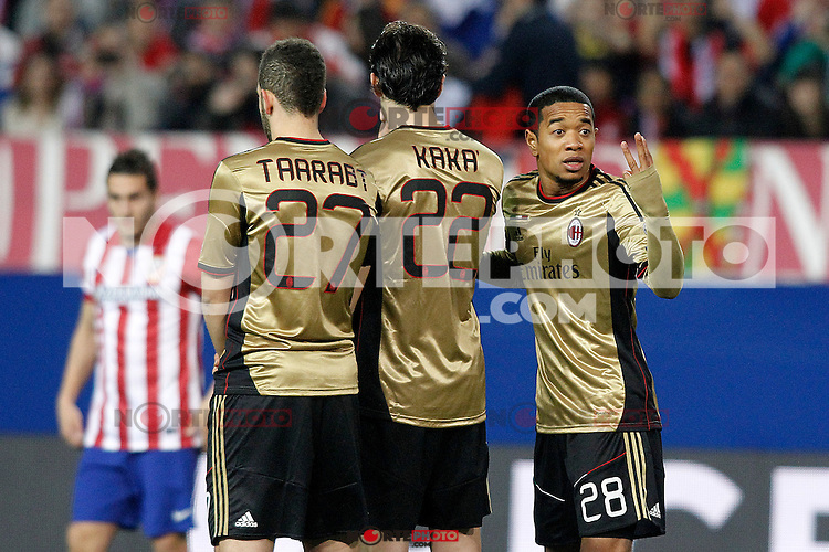 AC Milan's Adel Taarabt, Kaka and Urby Emanuelson during Champions League 2013/2014 match.March 11,2014. (ALTERPHOTOS/Acero)