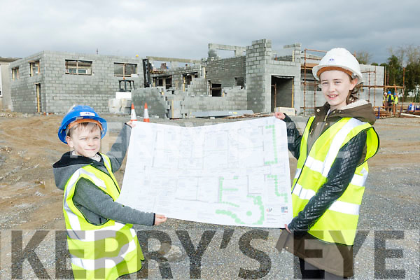 Muire Gan Smal Presentation Primary, Castleisland, new building is progressing well Front l-r Nora Ann Hartnett and James Burke,