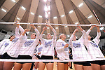 03 DEC 2011:  Concordia University St. Paul celebrates their victory over Cal State San Bernardino by cutting down the nets during the Division II Women's Volleyball Championship held at Coussoulis Arena on the Cal State San Bernardino campus in San Bernardino, Ca. Concordia St. Paul defeated Cal State San Bernardino 3-0 to win the national title. Matt Brown/ NCAA Photos