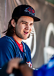 18 July 2018: New Hampshire Fisher Cats shortstop Bo Bichette sits in the dugout during a game against the Trenton Thunder at Northeast Delta Dental Stadium in Manchester, NH. The Thunder defeated the Fisher Cats 3-2 concluding a previous game started April 29. Mandatory Credit: Ed Wolfstein Photo *** RAW (NEF) Image File Available ***