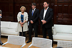 Madrid Mayor Manuela Carmena meeting with president of Catalonia Carles Puigdemont  and  vice president Oriol Junqueras at Madrid Town Hall, May 22, 2017. Spain.<br /> (ALTERPHOTOS/BorjaB.Hojas)