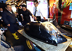 January 5, 2019, Tokyo, Japan - President of sushi restaurant chain Sushi-Zanmai, Kiyoshi Kimura, displays a 278kg bluefin tuna priced 333.6 million yen at his main restaurant in Tokyo on Saturday, January 5, 2019. The tuna was traded with the record price of 333.6 million yen (3 million US dollars) at the first auction of the new year at Tokyo's Toyosu fish market .   (Photo by Yoshio Tsunoda/AFLO) LWX -ytd-