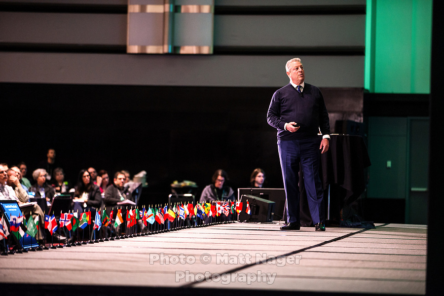 Vice President Al Gore speaks during the Climate Reality Project Leadership Corps Training at the Convention Center in Denver, Colorado, Thursday, March 2, 2017.<br /> <br /> Photo by Matt Nager