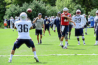 Wednesday, August 17, 2016: New England Patriots quarterback Tom Brady (12) watches his pass to running back Tyler Gaffney (36) at a joint training camp session between the Chicago Bears and the New England Patriots held at Gillette Stadium in Foxborough Massachusetts. Eric Canha/CSM