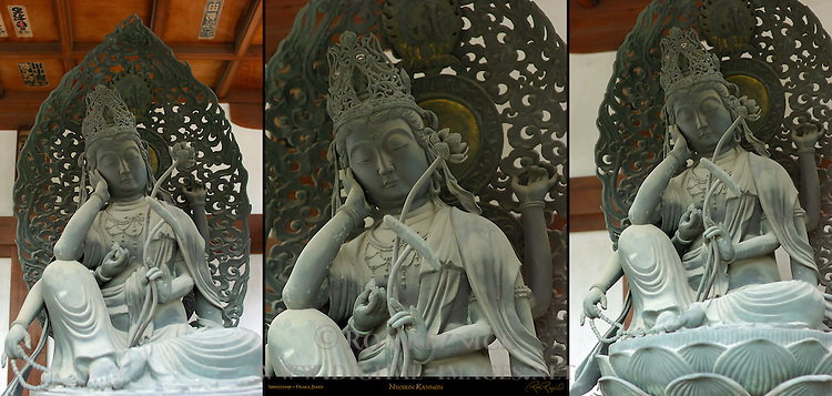Nyoirin Kannon, Shingon version with six arms, Composite image, Shitennoji, Osaka, Japan
