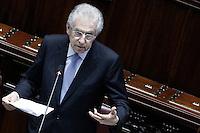 Il presidente del Consiglio Mario Monti durante il suo intervento.Roma 05/07/2012 Camera dei Deputati - Informativa urgente del Governo sugli esiti del Consiglio europeo del 28-29 giugno.Foto Serena Cremaschi Insidefoto