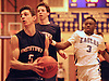 Greg Giordano #5 of Smithtown West, left, looks to get inside the paint during a Suffolk County varsity boys basketball game against host Copiague High School on Thursday, Feb. 2, 2017. Smithtown West won by a score of 78-59.