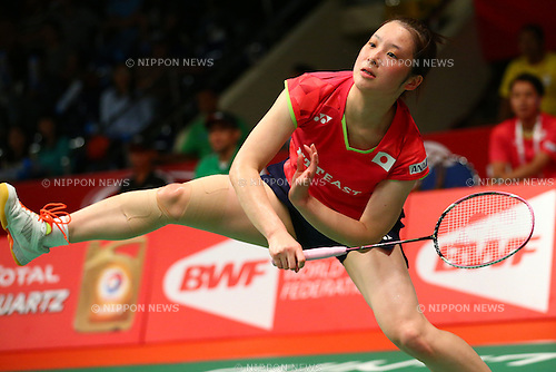 Minatsu Mitani (JPN), AUGUST 12, 2015 - Badminton : TOTAL BWF World Championships 2015 Women's Singles 2nd round match at Istora Senayan Arena, Jakarta, Indonesia. (Photo by Shingo Ito/AFLO SPORT)