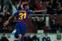 2nd February 2020; Camp Nou, Barcelona, Catalonia, Spain; La Liga Football, Barcelona versus Levante; Ansu Fati of FC Barcelona celebrates as he scores for 1-0 in the 30th minute