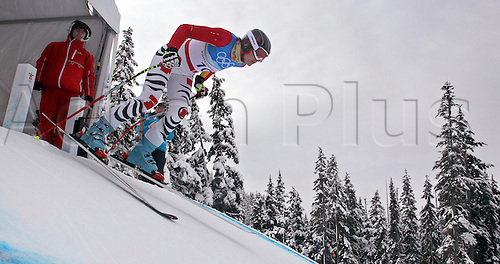 Maria Riesch of Germany starts during first run of women's downhill training at Whistler Creekside at the Vancouver 2010 Olympic Games, Canada, 15 February 2010. Photo: Karl-Josef Hildenbrand /Actionplus. Editorial UK Licenses Only