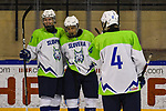 06.04.2019, BLZ Arena, Füssen / Fuessen, GER, FSP, U18, Deutschland (GER) vs Slowenien (SLO), <br /> im Bild Torjubel, Zan Primozic (SLO, #11), Erik Meznar (SLO, #21), Filip Fartek (SLO, #4)<br /> <br /> Foto © nordphoto / Hafner