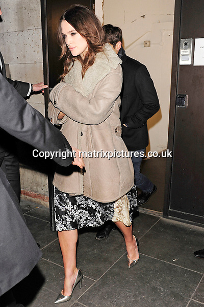 NON EXCLUSIVE PICTURE: MATRIXPICTURES.CO.UK<br /> PLEASE CREDIT ALL USES<br /> <br /> WORLD RIGHTS<br /> <br /> Pregnant English actress Keira Knightley is pictured leaving the ME Hotel, in London, after attending a private screening of The Imitation Game. <br /> <br /> FEBRUARY 5th 2015<br /> <br /> REF: ASI 15402