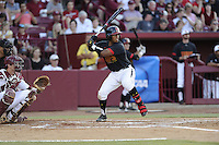 Catcher Kevin Martir (32) of the Maryland Terrapins in an NCAA Division I Baseball Regional Tournament game against the South Carolina Gamecocks on Sunday, June 1, 2014, at Carolina Stadium in Columbia, South Carolina. The USC catcher is Grayson Greiner. Maryland won, 10-1, to win the tournament. (Tom Priddy/Four Seam Images)