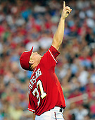 Washington Nationals pitcher Stephen Strasburg (37) points to a pop-up in the seventh inning against the Chicago White Sox at Nationals Park in Washington, D.C, on Friday, June 19, 2010..Credit: Ron Sachs / CNP.(RESTRICTION: NO New York or New Jersey Newspapers or newspapers within a 75 mile radius of New York City)