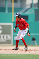 GCL Red Sox second baseman Ricardo Cubillan (20) leads off first base during a game against the GCL Orioles on August 9, 2018 at JetBlue Park in Fort Myers, Florida.  GCL Red Sox defeated GCL Orioles 10-4.  (Mike Janes/Four Seam Images)