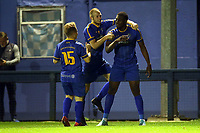 Tim Babalola of Romford scores the second goal for his team and celebrates during Romford vs Brentwood Town, Velocity Trophy Football at the Brentwood Centre on 8th October 2019