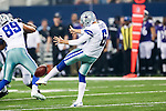 Dallas Cowboys punter Chris Jones (6) in action during the pre-season game between the Baltimore Ravens and the Dallas Cowboys at the AT & T stadium in Arlington, Texas. The Ravens lead Dallas 24 to 10 at half time.