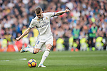 Toni Kroos of Real Madrid kicks the ball during the match Real Madrid vs RCD Espanyol, a La Liga match at the Santiago Bernabeu Stadium on 18 February 2017 in Madrid, Spain. Photo by Diego Gonzalez Souto / Power Sport Images